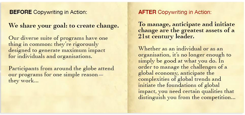 before and after copywriting in action