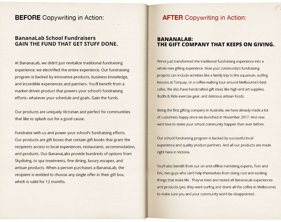 Before and After Copywriting in Action | Case Studies